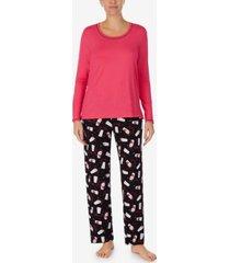 cuddl duds solid top & printed pants pajama set