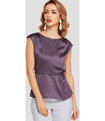 púrpura plisado redondo cuello camiseta con pretina elástica con mangas casquillo