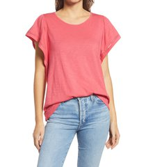 gibsonlook flutter sleeve top, size medium in red chateaux at nordstrom