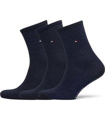 th women sock 3p giftbox lurex lingerie socks regular socks blå tommy hilfiger