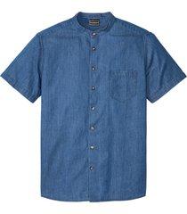 camicia in jeans a maniche corte con colletto alla coreana slim fit (blu) - rainbow