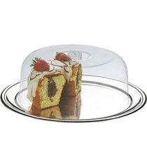 conjunto para bolo brinox petúnia com 2 peças 32cm