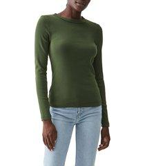 women's michael stars crewneck long sleeve t-shirt, size one size - green