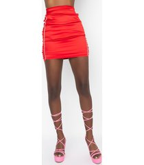 akira dream lover ruched rhinestone satin mini skirt