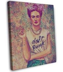 frida kahlo daft punk rock shirt image 20x16 framed canvas print
