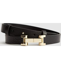 reiss hayley - leather square hinge belt in black, womens, size l