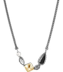 'classic chain' mix gemstone 18k gold silver pendant necklace