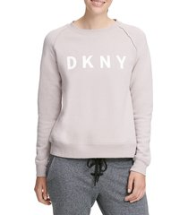 dkny sport women's lace-up logo sweatshirt - charcoal - size s