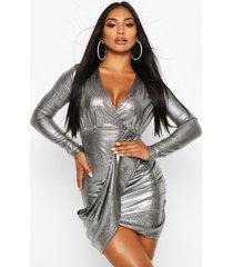 metallic wrap plunge mini dress, silver