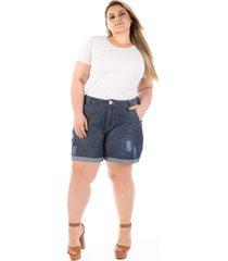 short plus size - confidencial extra jeans boyfriend olaf com puídos