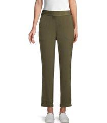 max studio women's roll-cuff pants - army - size xs