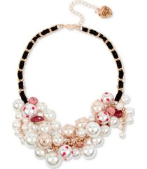 "betsey johnson rose gold-tone crystal & imitation pearl ribbon-woven statement necklace, 16"" + 3"" extender"