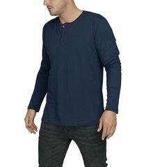 camiseta naval luck & load cuello tres botones manga larga