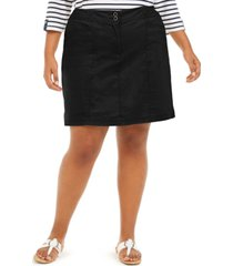 karen scott plus size knit-waistband skort, created for macy's