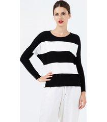 sweter w czarno-białe pasy