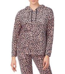 women's room service pjs velour hoodie, size medium - brown (nordstrom exclusive)