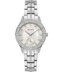 bulova women's phantom crystal stainless steel bracelet watch 31mm
