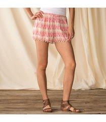 zig zag shorts with pom poms