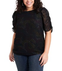 1.state women's plus size ruched sleeve tee