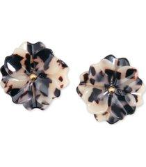 zenzii gold-tone & acetate layered flower stud earrings