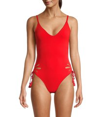 robin piccone women's ava ruched one-piece swimsuit - fiery red - size 14