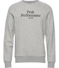m original crew sweat-shirt tröja grå peak performance