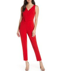 women's ali & jay sleeveless slim leg asymmetrical jumpsuit, size large - red