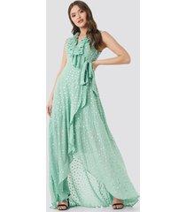 trendyol polka dots evening dress - green