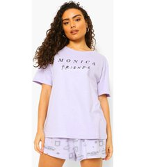 gelicenseerde friends monica pyjama set met shorts, lilac