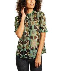 havana short sleeves flower print shirt