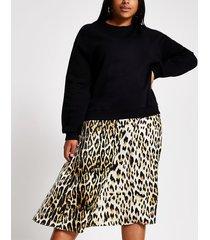 river island womens plus black leopard print sweatshirt dress