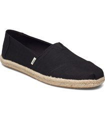 black slubby woven sandaletter expadrilles låga svart toms
