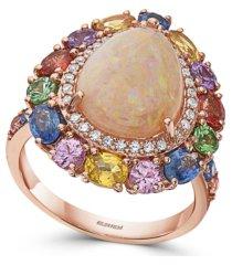 effy opal (2 1/4 ct. t.w.), multi sapphire (5 5/8 ct. t.w.) & diamond (3/8 ct. t.w.) pear ring in 14k rose gold