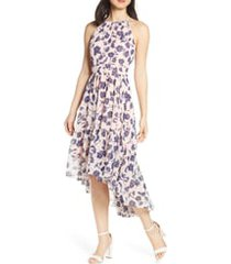 women's eliza j floral ruffle high/low halter dress