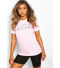 heartbeat printed t-shirt, pink