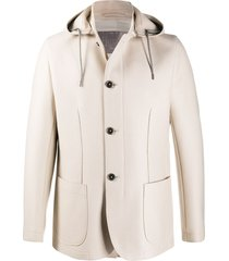herno fine knit hooded coat - neutrals