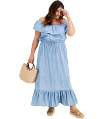 style & co plus size chambray maxi dress, created for macy's