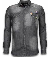 overhemd lange mouw bb bread buttons denim shirt - spijker slim fit - 3 buttons -