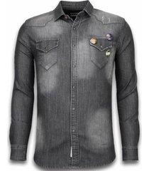overhemd lange mouw bread buttons denim shirt - spijker slim fit - 3 buttons -