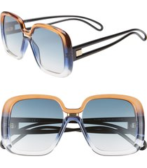 women's givenchy 55mm square sunglasses - brown blue