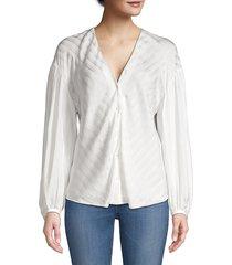 joie women's cadmar illusion chevron stripe blouse - porcelain - size xs