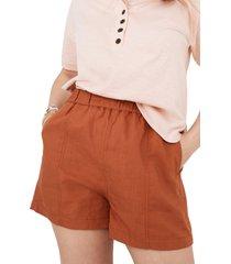 women's madewell women's linen blend easy pull-on shorts, size medium - orange