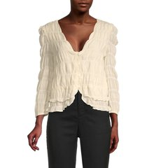 lucca women's puffed v-neck top - ivory - size m
