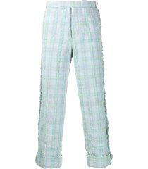thom browne multi tattersal seersucker tweed trousers - blue