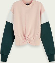 scotch & soda sweater met colourblock en geknoopt detail