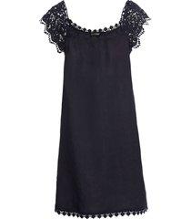 abito in misto lino con pizzo (blu) - bodyflirt