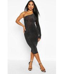 one shoulder glitter midi dress, black