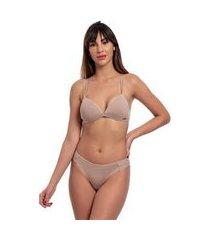 conjunto lingerie top triângulo lateral média plissada liso