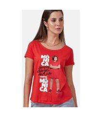 camiseta feminina turma da mônica laços mônica sempre dona da rua