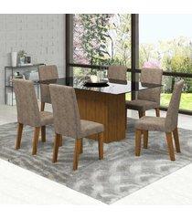 mesa de jantar 6 lugares zouk com vidro preto 11564 seda/malta - mobilarte móveis